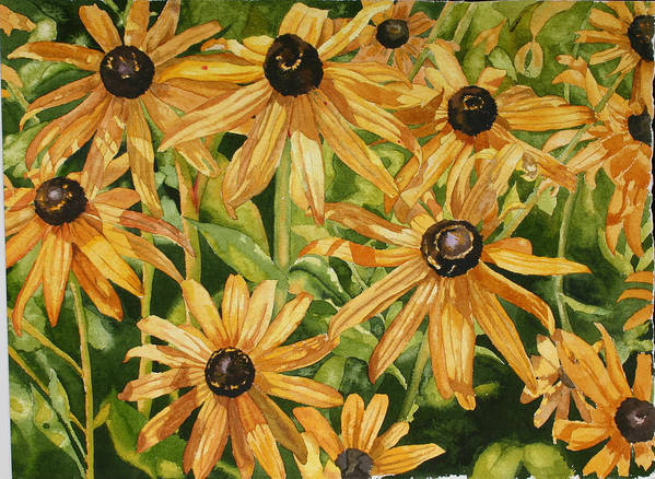 Floral Poster featuring the painting Brown Eyes by Helen Shideler
