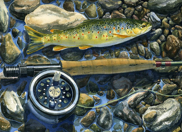 Trout Poster featuring the painting Brown Trout Rush Creek by Mark Jennings