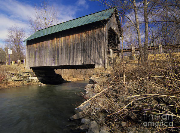 Bridge Poster featuring the photograph Brownsville Covered Bridge - Brownsville Vermont by Erin Paul Donovan