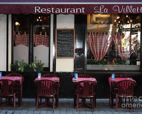 European Cafes Poster featuring the photograph Brussels - Restaurant La Villette by Carol Groenen