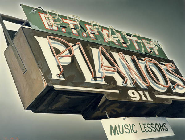 Sign Poster featuring the painting B.t.faith Pianos by Van Cordle