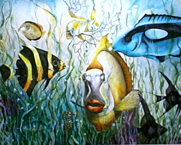 Fish Poster featuring the print Bubba Fish And Friends by JoLyn Holladay