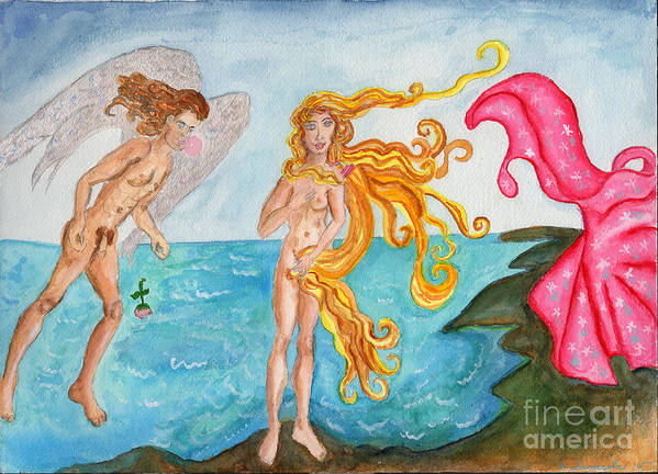 Parodies Poster featuring the painting Bubblegum Angel And The Birth Of Venus by Debbie Davidsohn