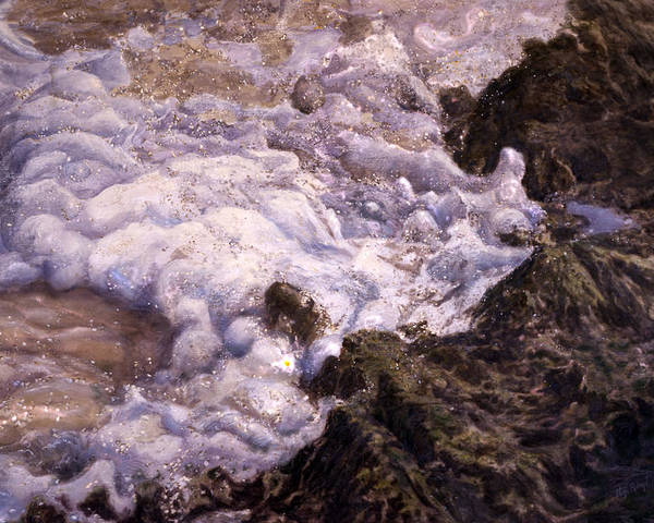 Seascape Poster featuring the pastel Bubbling Sea Rocks by Olga Spiegel