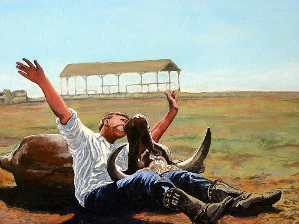 Bull Poster featuring the painting Bucky Gets The Bull by Tom Roderick