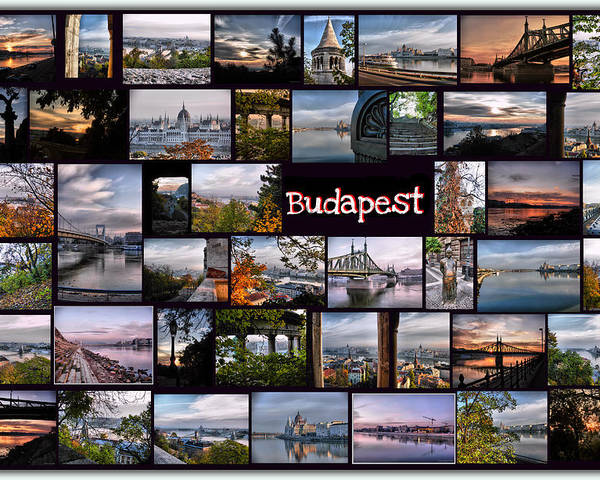 Budapest Poster featuring the pyrography Budapest In October by Janos Kovac