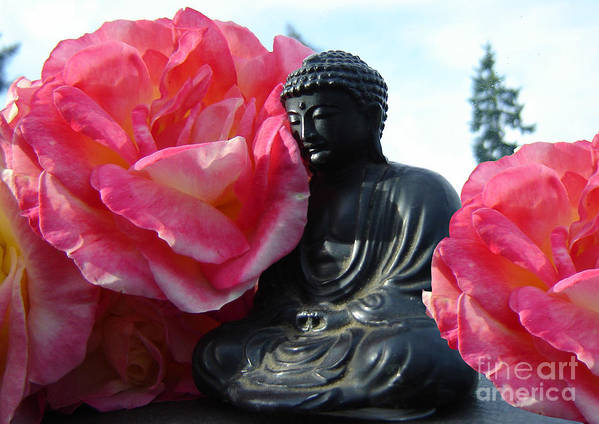 Buddha Poster featuring the photograph Buddha And Roses by Eric Singleton