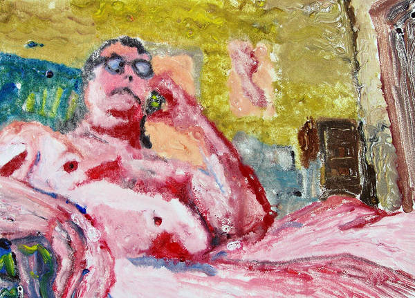 Buddha Poster featuring the painting Buddha On The Phone One Of Four by John Toxey