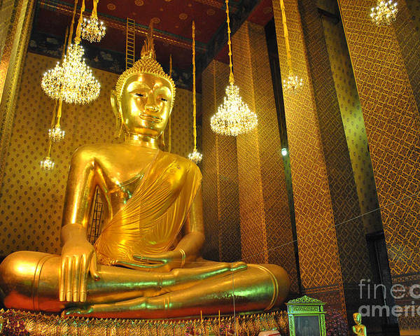 Stone Poster featuring the sculpture Buddha Statue by Somchai Suppalertporn