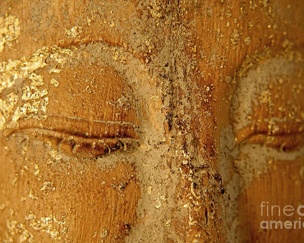 Zen Poster featuring the painting Buddha's Eyes by Julia Hiebaum