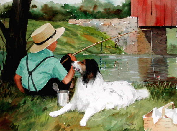 Amish Poster featuring the painting Buddies by Faye Ziegler