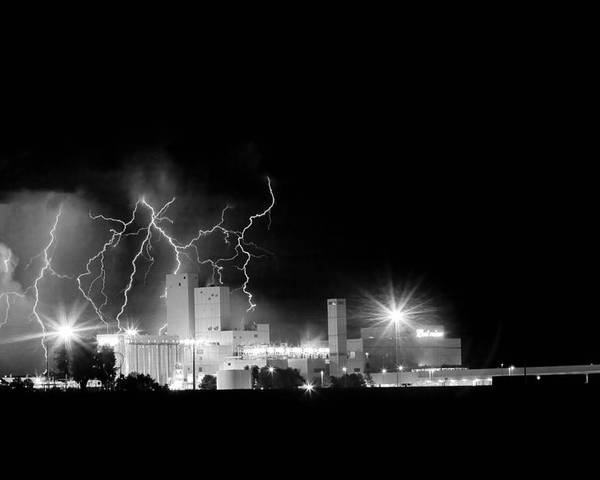 40d Poster featuring the photograph Budweiser Lightning Thunderstorm Moving Out Bw by James BO Insogna
