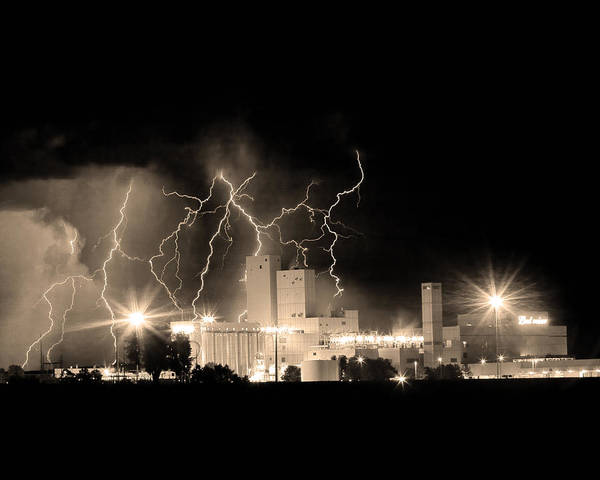 40d Poster featuring the photograph Budweiser Lightning Thunderstorm Moving Out Bw Sepia Crop by James BO Insogna
