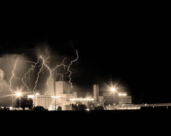 40d Poster featuring the photograph Budweiser Lightning Thunderstorm Moving Out Bw Sepia by James BO Insogna