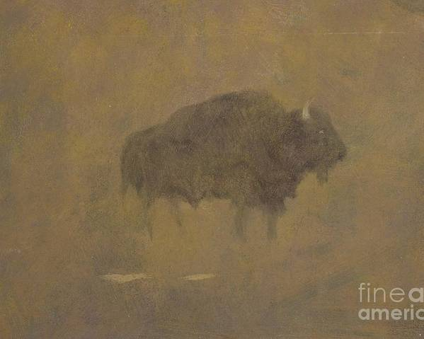 Buffalo Poster featuring the painting Buffalo In A Sandstorm by Albert Bierstadt
