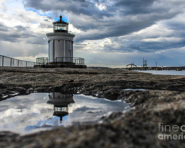 Maine Poster featuring the photograph Bug Light Clouds And Reflection by Joe Faragalli