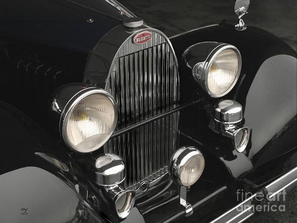 Bugatti Poster featuring the photograph Bugatti Type 57 In Black by Curt Johnson