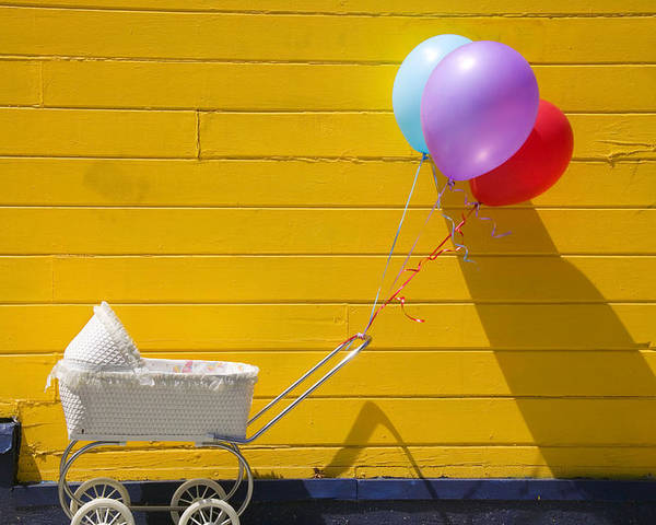 Wheel Poster featuring the photograph Buggy And Yellow Wall by Garry Gay