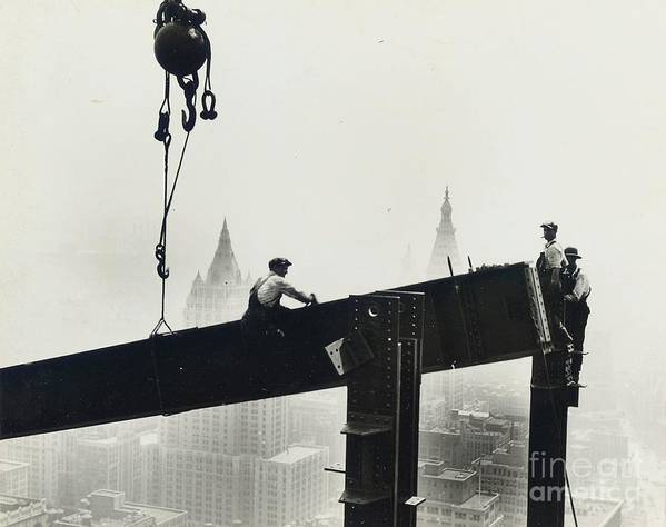 Riveters; Riveting; Male; Work; Labour; Workers; Working; Labourers; Construction; Building; History; Historical; Landmark; Skyscraper; High-rise; Empire State Building; 1930s; 30s; Thirties; Us; Usa; America; American; United States; High; Challenge; Risk; Danger; Courage; Bravery; Heights; Achievement; Scale; Teamwork; Chrysler Building; Aerial View; New York; Manhattan; Architecture; Urban; City; Cityscape; Dramatic; Builder; Builders; Scenic; Concentration; Black And White Photograph; B/w Photo; Photography Poster featuring the painting Building The Empire State Building by LW Hine