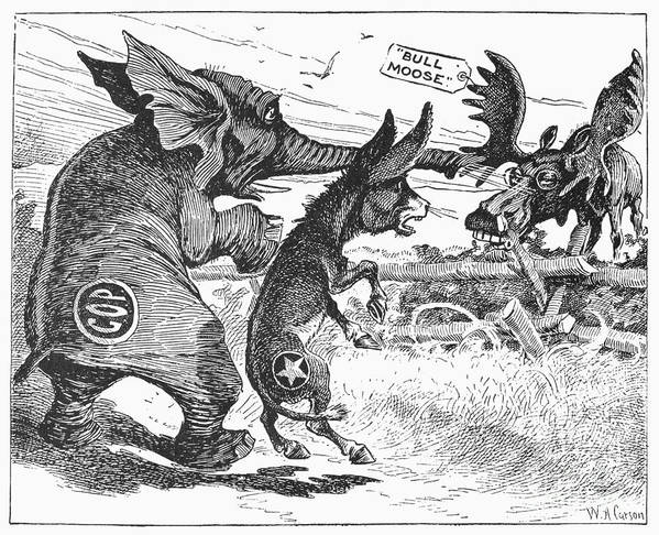 1912 Poster featuring the photograph Bull Moose Campaign, 1912 by Granger