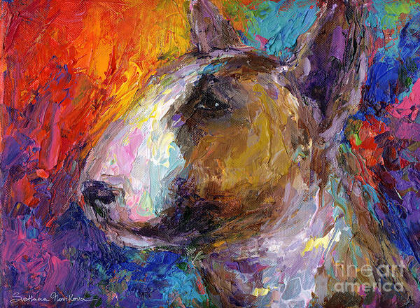 English Bull Terrier Prints Poster featuring the painting Bull Terrier Dog Painting by Svetlana Novikova