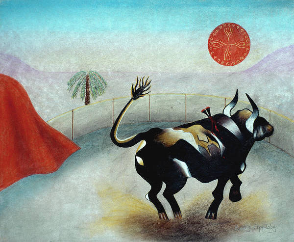 Animals Poster featuring the mixed media Bull With Sun by Sally Appleby