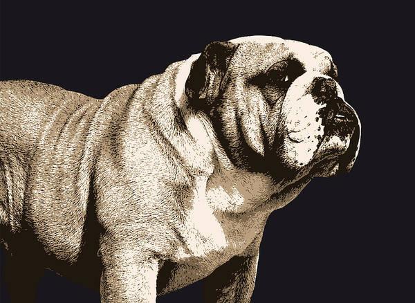 Bulldog Poster featuring the digital art Bulldog Spirit by Michael Tompsett
