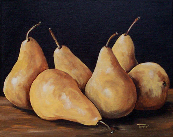 Golden Bosc Pears Poster featuring the painting Bunch Of Bosc Pears by Torrie Smiley