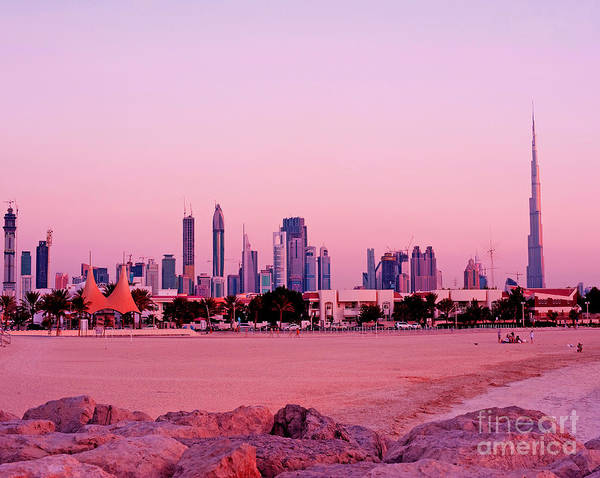 Dubai Poster featuring the photograph Burj Khalifa Previously Burj Dubai At Sunset by Chris Smith