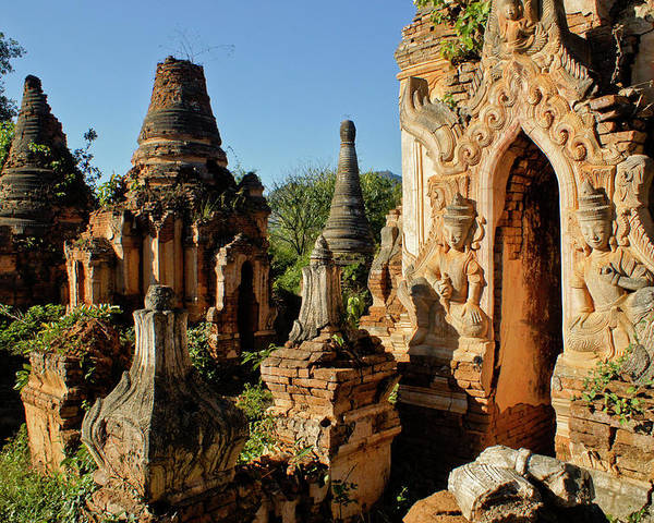 Asia Poster featuring the photograph Burmese Pagodas In Ruins by Michele Burgess