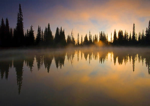Lake Poster featuring the photograph Burning Dawn by Mike Dawson