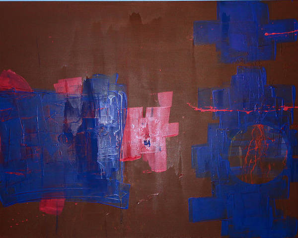 Contemporary Abstract Poster featuring the painting Burning The Midniht Oil by John Wesley
