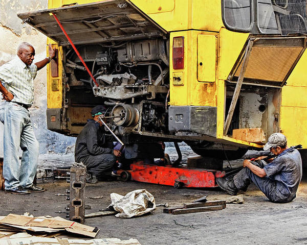 Auto Mechanic Poster featuring the photograph Bus Repairs by Dawn Currie