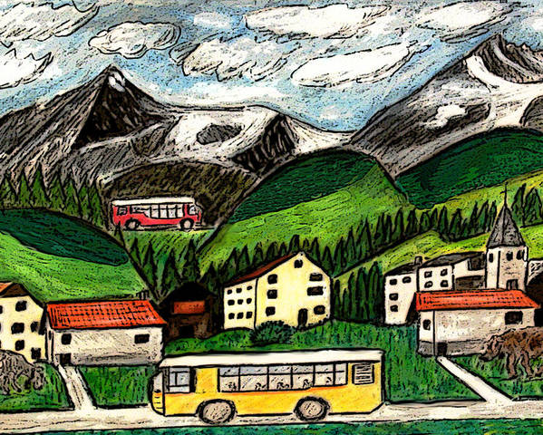 Switzerland Art Drawing Mixed Media Travel Landscape Tour Places Europe Houses Mountains Cows Poster featuring the painting Bus Travel by Monica Engeler