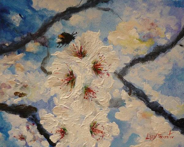 Bumble Bee Poster featuring the painting Busy Bumble Bee And Blossom. by Lizzy Forrester