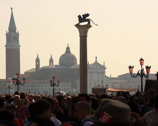 Venice Poster featuring the photograph Busy Day at St. Mark's Square by Michael Henderson