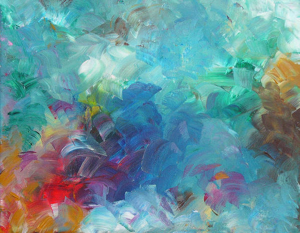 Abstract Poster featuring the painting Busy Day by Peggy King
