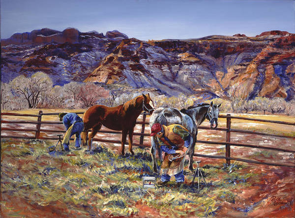 Horse Poster featuring the painting Butch And Clayton Swapping Shoes And Tales by Page Holland