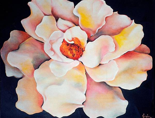 Large Floral Poster featuring the painting Butter Flower by Jordana Sands