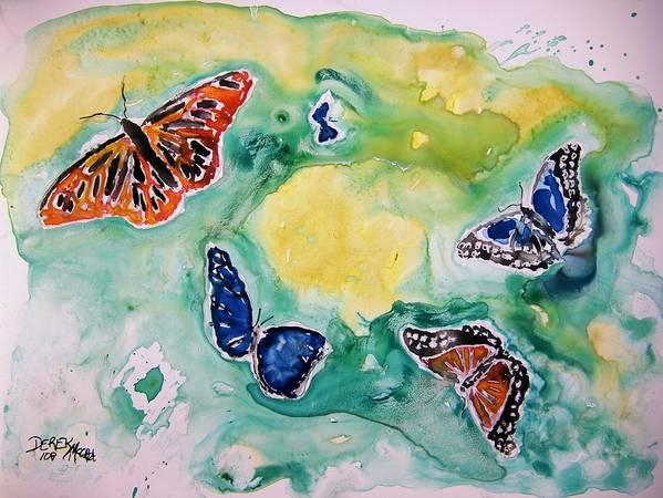 Watercolour Poster featuring the painting Butterflies by Derek Mccrea