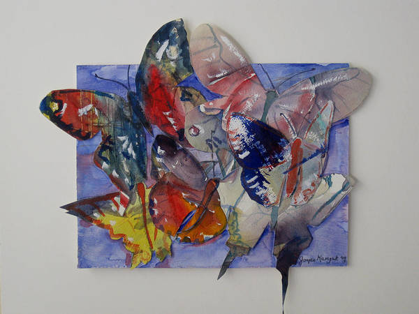 Butterflies Poster featuring the painting Butterflies In Flight by Joyce Kanyuk