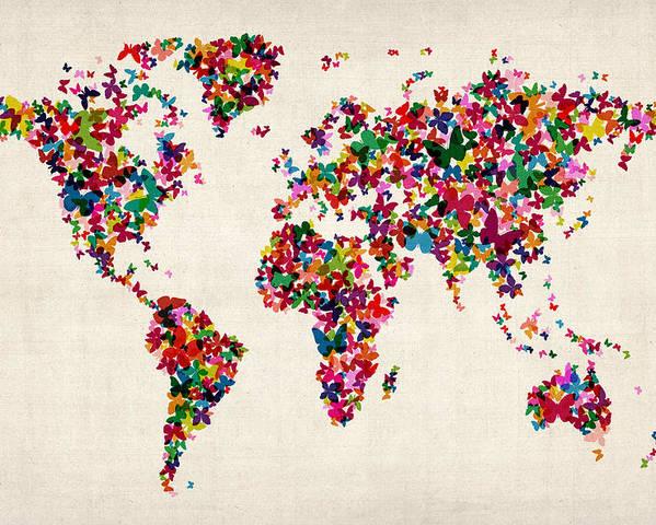 World Map Poster featuring the digital art Butterflies Map Of The World by Michael Tompsett