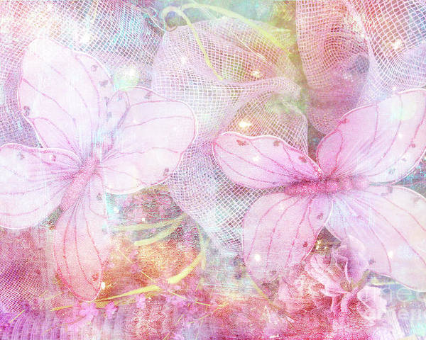 Butterfly Prints Poster Featuring The Photograph Butterflies Pastel Pink Watercolor Decor