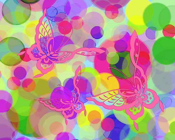 Butterfly Poster featuring the digital art Butterfly Bubbles by Lorrie Morrison