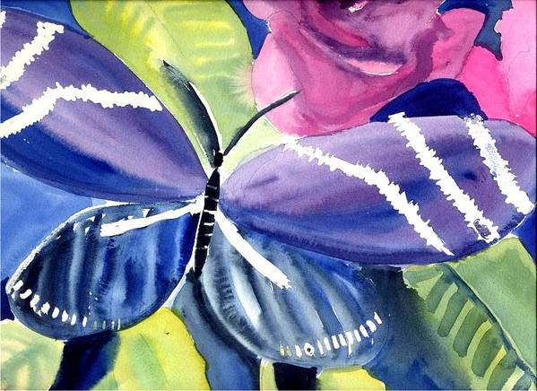 Butterfly Purple Rose Leaves Poster featuring the painting Butterfly by Janet Doggett