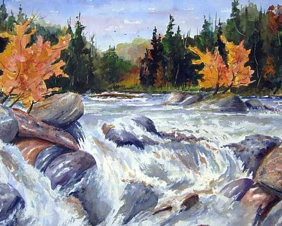 Fast Water Shoots The Rapids At Buttermilk Falls - Olfd Logging Chute - Ontario Poster featuring the painting Buttermilk Falls by Wilfred McOstrich