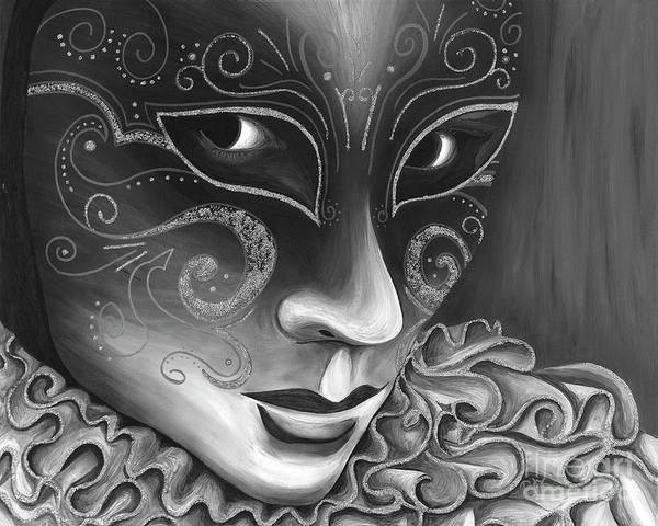 Carnival Poster featuring the painting Bw- Carnival Mask by Patty Vicknair