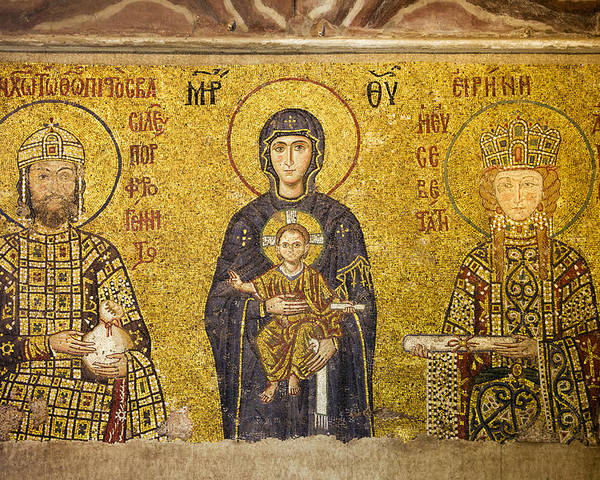 Art Poster featuring the photograph Byzantine Mosaic In Hagia Sophia by Artur Bogacki