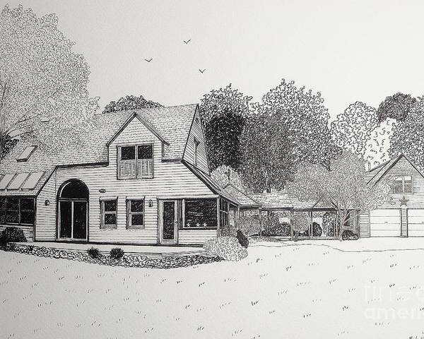 Architectural Drawing Poster featuring the drawing C And P's House by Michelle Welles