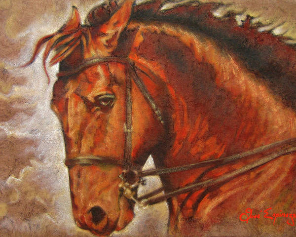 Horse Paintings Poster featuring the painting Caballo I by J- J- Espinoza